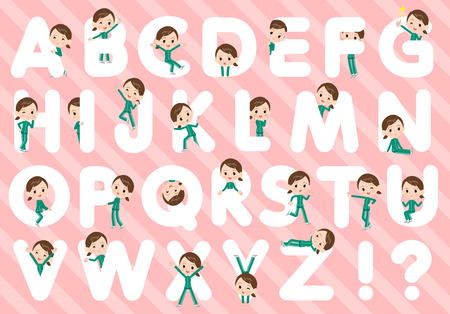 A set of women in sportswear designed with alphabet.Characters with fun expressions pose various poses.Its vector art so its easy to edit. Ilustração