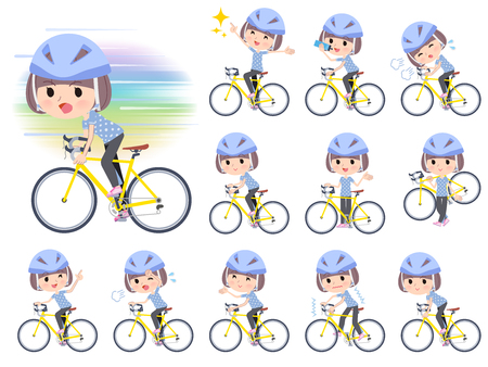 A set of women in Sportswear on a road bike.There is an action that is enjoying.It's vector art so it's easy to edit. Ilustração