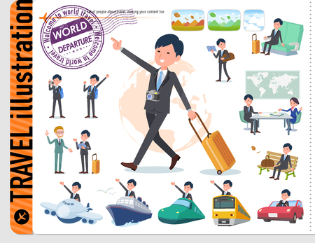 A set of businessman on travel.There are also vehicles such as boats and airplanes.It's vector art so it's easy to edit.
