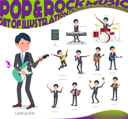 A set of businessman playing rock 'n' roll and pop music.There are also various instruments such as ukulele and tambourine.It's vector art so it's easy to edit.