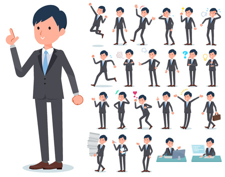 A set of businessman with who express various emotions.There are actions related to workplaces and personal computers.It's vector art so it's easy to edit. Banque d'images - 113631792