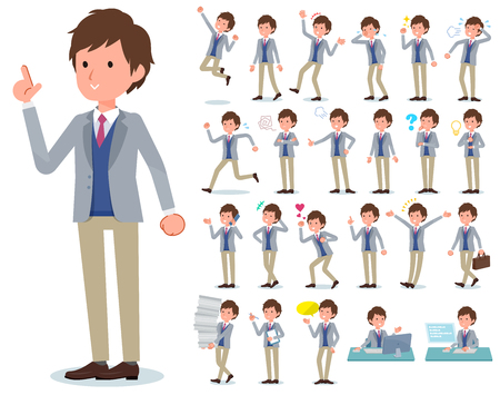 A set of businessman with who express various emotions.There are actions related to workplaces and personal computers.Its vector art so its easy to edit.