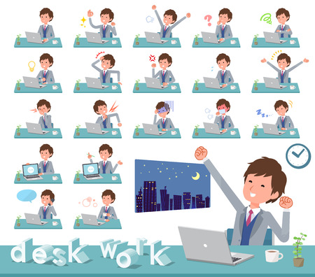 A set of businessman on desk work.There are various actions such as feelings and fatigue.It's vector art so it's easy to edit. Stock Vector - 124040730