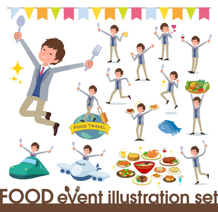 A set of businessman on food events.There are actions that have a fork and a spoon and are having fun.It's vector art so it's easy to edit. Illustration