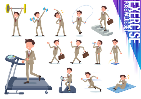 A set of businessman on exercise and sports.There are various actions to move the body healthy.It's vector art so it's easy to edit.