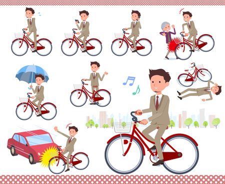 A set of businessman riding a city cycle.There are actions on manners and troubles.It's vector art so it's easy to edit. Stock Illustratie