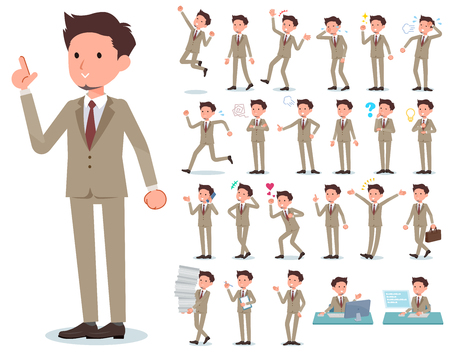 A set of businessman with who express various emotions.There are actions related to workplaces and personal computers.It's vector art so it's easy to edit. Stock Illustratie