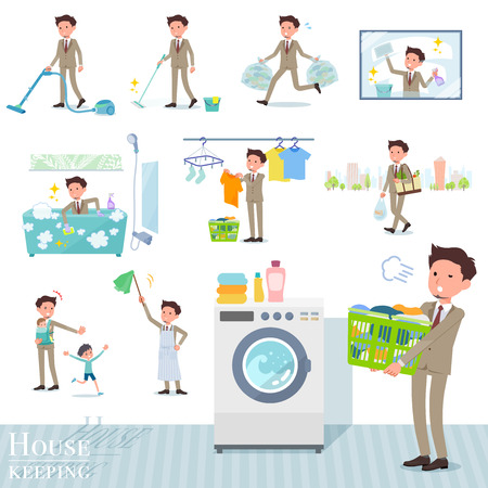A set of businessman related to housekeeping such as cleaning and laundry.There are various actions such as child rearing.It's vector art so it's easy to edit. Ilustração