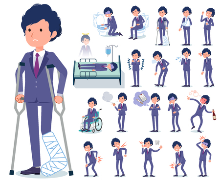 A set of businessman with injury and illness.There are actions that express dependence and death.It's vector art so it's easy to edit. Vector Illustratie
