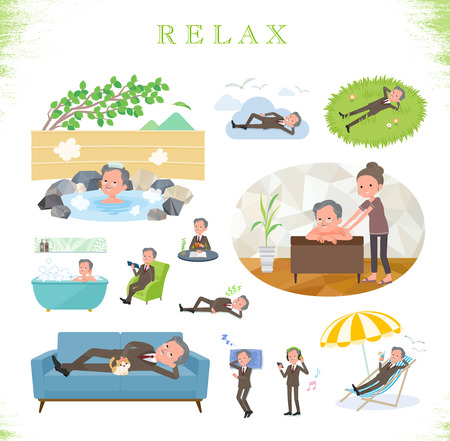 A set of old businessman about relaxing.There are actions such as vacation and stress relief.Its vector art so its easy to edit.