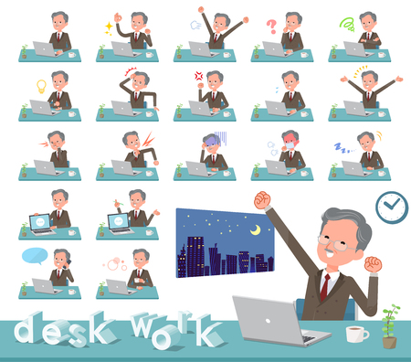 A set of old businessman on desk work.There are various actions such as feelings and fatigue.It's vector art so it's easy to edit. Vectores