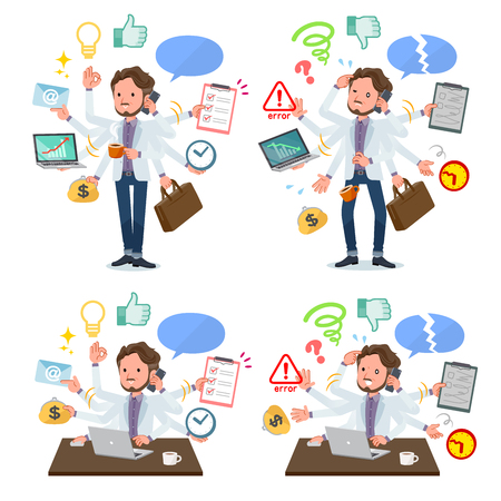 A set of Middle-aged man who perform multitasking in the office.There are things to do smoothly and a pattern that is in a panic.Its vector art so its easy to edit.