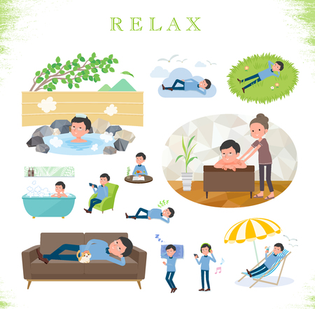 A set of man about relaxing.There are actions such as vacation and stress relief.Its vector art so its easy to edit.