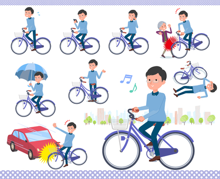 A set of man riding a city cycle.There are actions on manners and troubles.It's vector art so it's easy to edit.