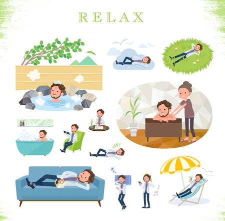 A set of Middle-aged man about relaxing.There are actions such as vacation and stress relief.Its vector art so its easy to edit.  イラスト・ベクター素材