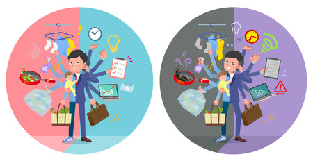 A set of man who perform multitasking in offices and private.There are things to do smoothly and a pattern that is in a panic.It's vector art so it's easy to edit. Иллюстрация