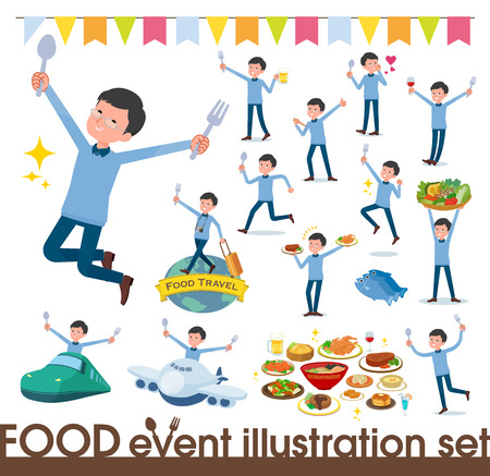 A set of man on food events.There are actions that have a fork and a spoon and are having fun.It's vector art so it's easy to edit. Illustration