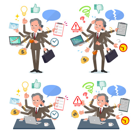 A set of old businessman who perform multitasking in the office.There are things to do smoothly and a pattern that is in a panic.Its vector art so its easy to edit. 일러스트