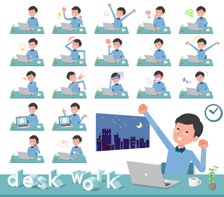 A set of man on desk work.There are various actions such as feelings and fatigue.Its vector art so its easy to edit.
