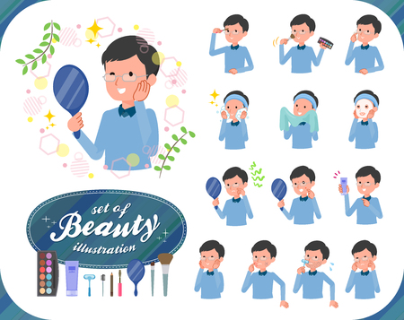 A set of man on beauty.There are various actions such as skin care and makeup.It's vector art so it's easy to edit.