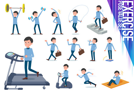 A set of man on exercise and sports.There are various actions to move the body healthy.Its vector art so its easy to edit.