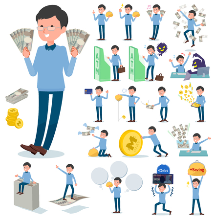 A set of man with concerning money and economy.There are also actions on success and failure.It's vector art so it's easy to edit.