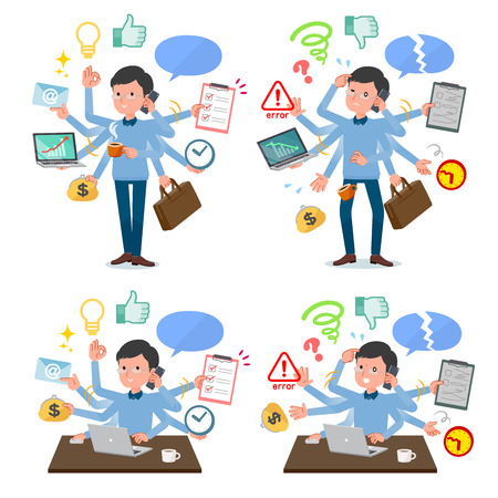 A set of man who perform multitasking in the office.There are things to do smoothly and a pattern that is in a panic.Its vector art so its easy to edit.