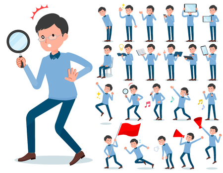 A set of man with digital equipment such as smartphones.There are actions that express emotions.It's vector art so it's easy to edit. Illustration
