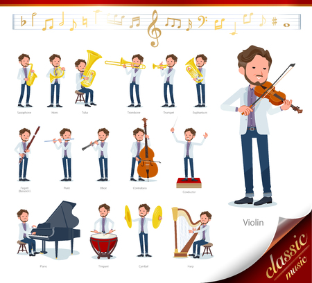 A set of Middle-aged man on classical music performances.There are actions to play various instruments such as string instruments and wind instruments.It's vector art so it's easy to edit.