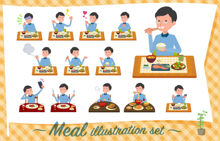 A set of man about meals.Japanese and Chinese cuisine, Western style dishes and so on.Its vector art so its easy to edit.