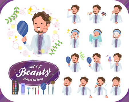 A set of Middle-aged man on beauty.There are various actions such as skin care and makeup.It's vector art so it's easy to edit.