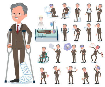A set of old businessman with injury and illness.There are actions that express dependence and death.It's vector art so it's easy to edit. Illustration