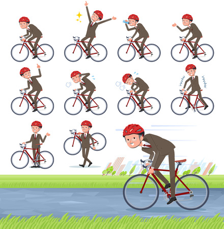 A set of old businessman on a road bike.There is an action that is enjoying.It's vector art so it's easy to edit.