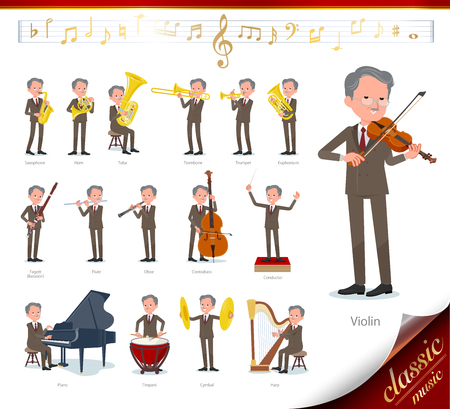 A set of old businessman on classical music performances.There are actions to play various instruments such as string instruments and wind instruments.It's vector art so it's easy to edit. Vettoriali