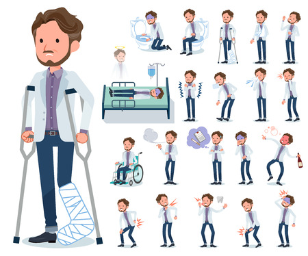 A set of Middle-aged man with injury and illness.There are actions that express dependence and death.It's vector art so it's easy to edit. Vectores