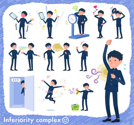 A set of school boy on inferiority complex.There are actions suffering from smell and appearance.Its vector art so its easy to edit.