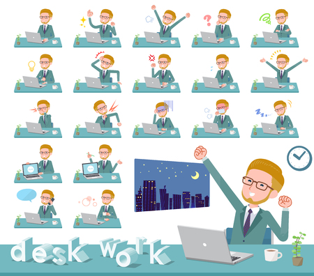 A set of businessman on desk work.There are various actions such as feelings and fatigue.It's vector art so it's easy to edit. Stock Vector - 115136375