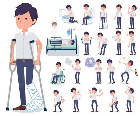 A set of businessman with injury and illness.There are actions that express dependence and death.Its vector art so its easy to edit.
