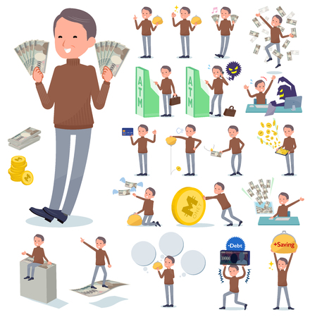 A set of middle Age man with concerning money and economy.There are also actions on success and failure.It's vector art so it's easy to edit.