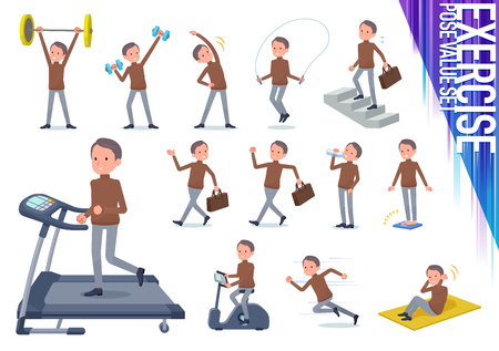 A set of middle Age man on exercise and sports.There are various actions to move the body healthy.It's vector art so it's easy to edit. Illusztráció
