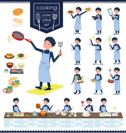 A set of school boy about cooking.There are actions that are cooking in various ways in the kitchen.It's vector art so it's easy to edit. Ilustração