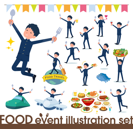 A set of school boy on food events.There are actions that have a fork and a spoon and are having fun.It's vector art so it's easy to edit.