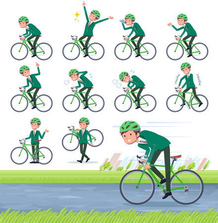 A set of school boy on a road bike.There is an action that is enjoying.It's vector art so it's easy to edit.