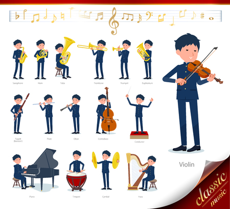 A set of school boy on classical music performances.There are actions to play various instruments such as string instruments and wind instruments.It's vector art so it's easy to edit. 矢量图片