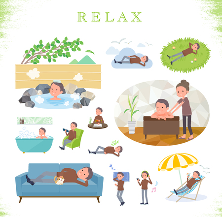 A set of middle Age man about relaxing.There are actions such as vacation and stress relief.Its vector art so its easy to edit.