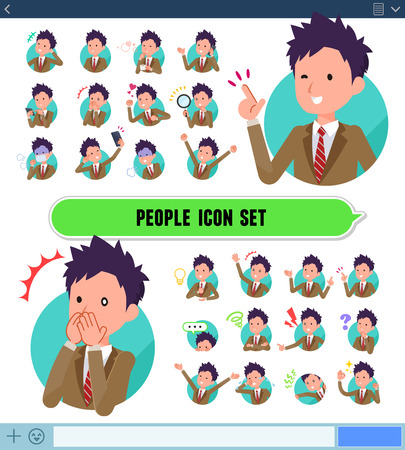 A set of school boy with expresses various emotions on the SNS screen.There are variations of emotions such as joy and sadness.It's vector art so it's easy to edit.