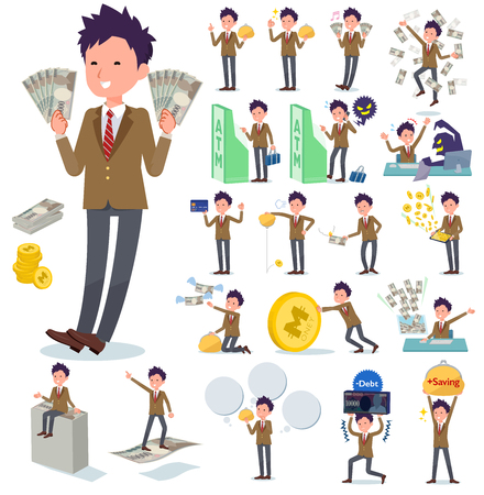 A set of school boy with concerning money and economy.There are also actions on success and failure.It's vector art so it's easy to edit.