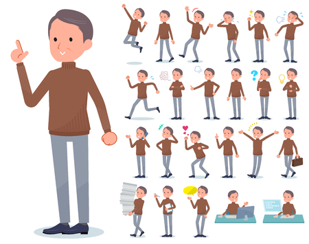 A set of middle Age man with who express various emotions.There are actions related to workplaces and personal computers.Its vector art so its easy to edit.