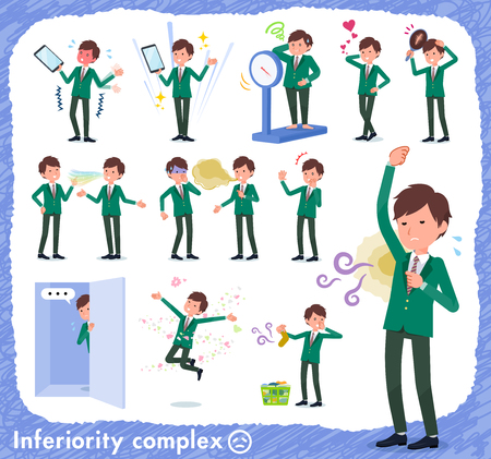 A set of school boy on inferiority complex.There are actions suffering from smell and appearance.It's vector art so it's easy to edit. Stok Fotoğraf - 115136582
