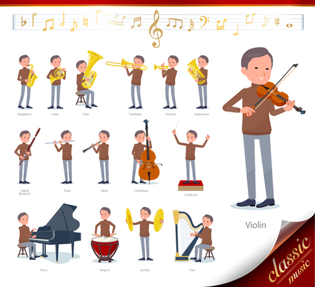 A set of middle Age man on classical music performances.There are actions to play various instruments such as string instruments and wind instruments.It's vector art so it's easy to edit. Archivio Fotografico - 115136586